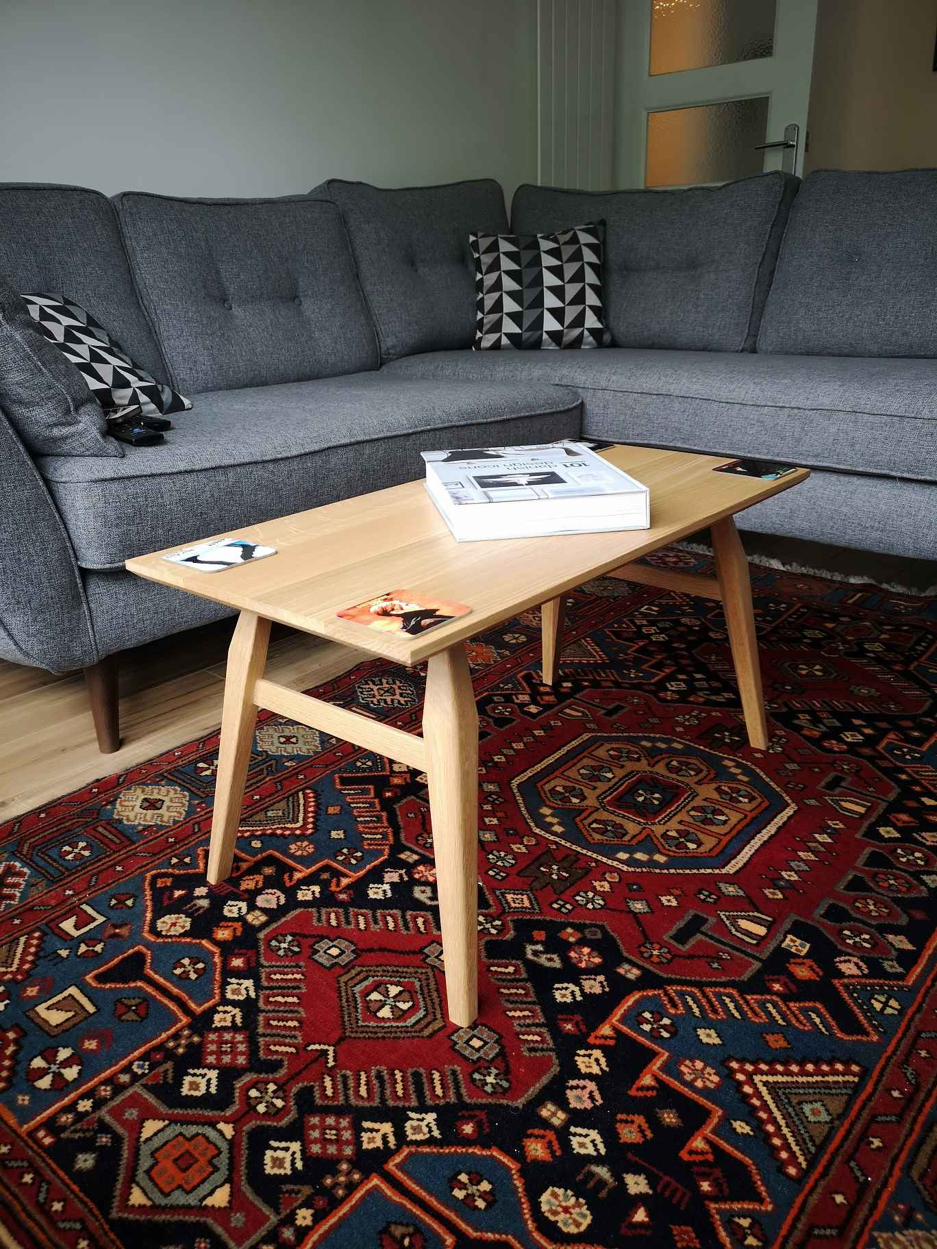 Oak coffee table in living room