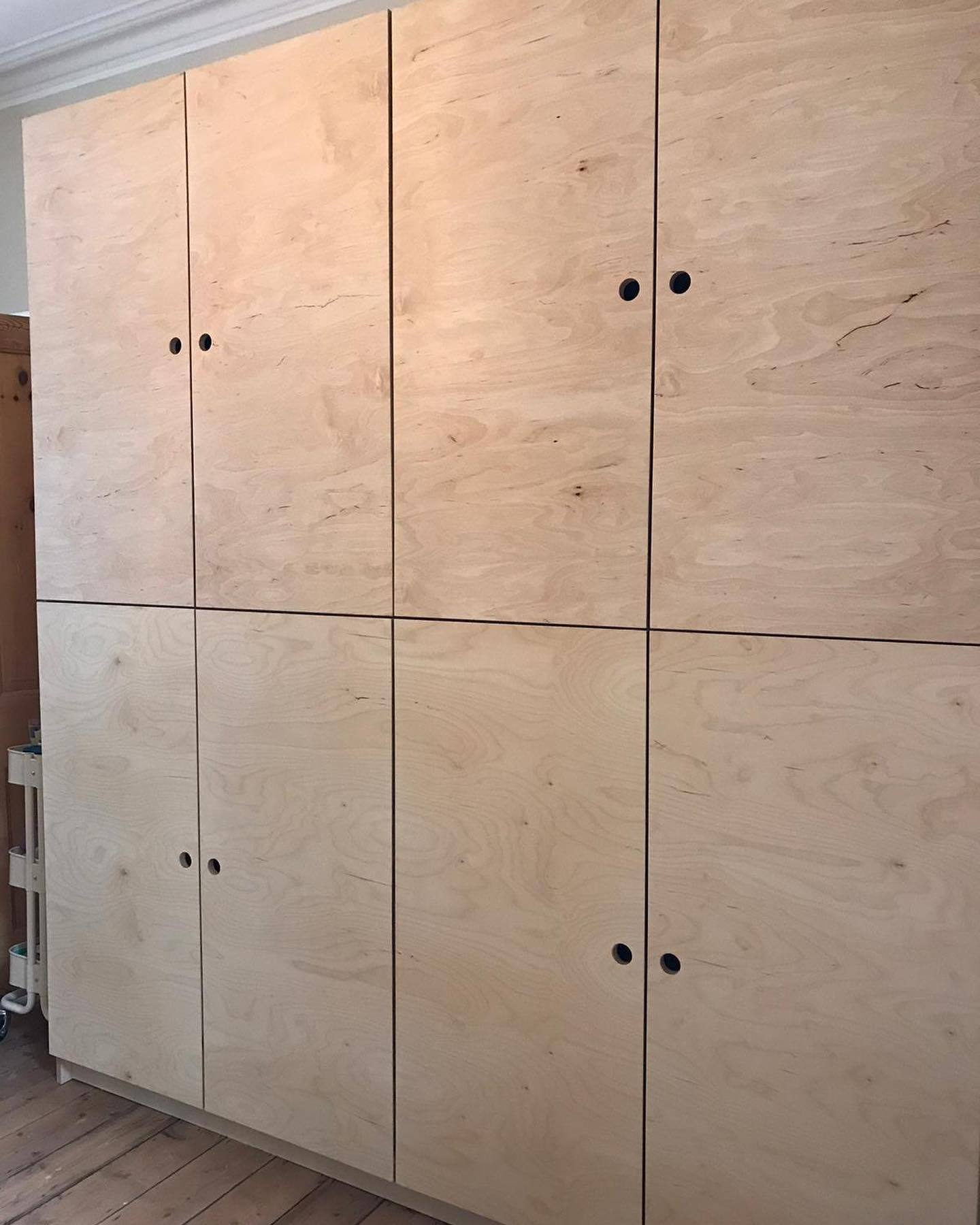 Birch ply storage cupboards in home