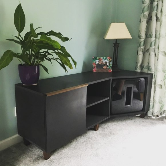 charcoal media unit in living room