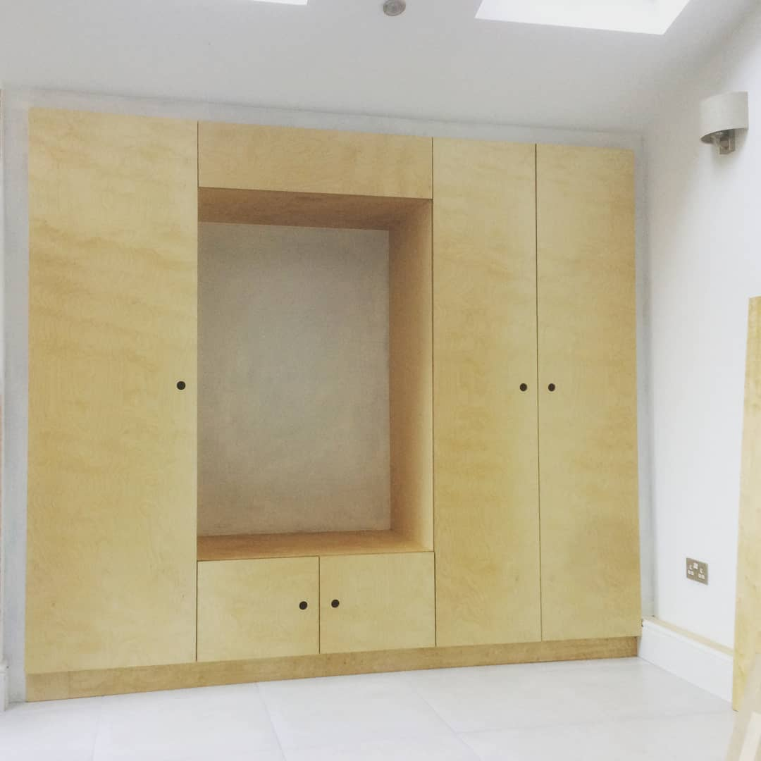 Birch ply fitted wall unit