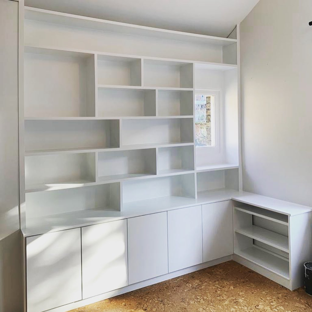 White fitted shelving unit