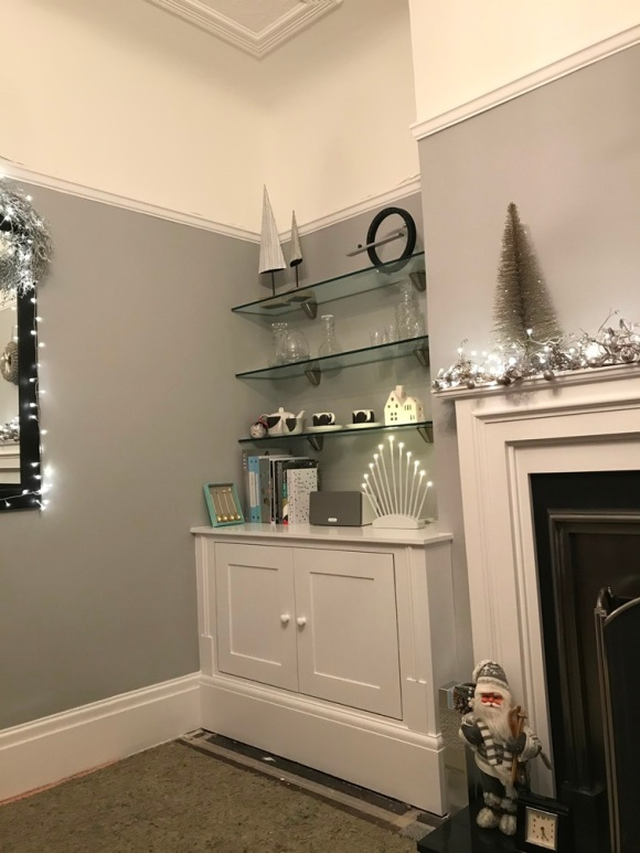 fitted alcove unit with glass shelves