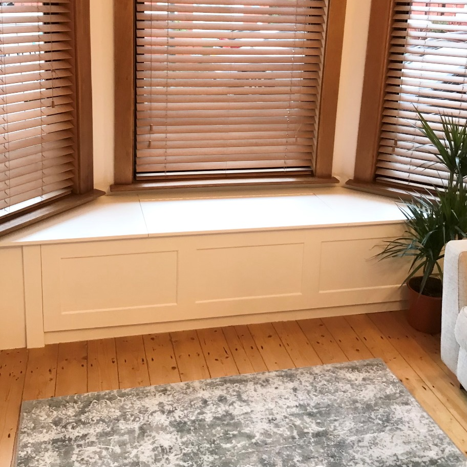 fitted window seat in living room